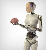 Humanoid with brain — Stock Photo