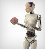 Humanoid with brain — Stock Photo