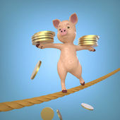 Pig with Coins in the Cord — Stock Photo