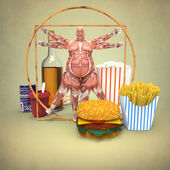 Anatomy Male with food — Stock Photo