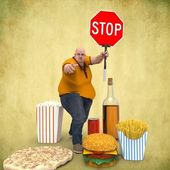 Man with a stop sign — Stock Photo