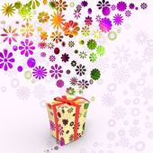 Gift package with flowers — Stock Photo