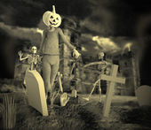 Halloween Party with Zombie and Skeleton — Stock Photo