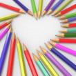 Pencils forming heart — Stock Photo