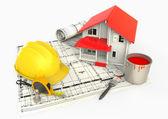 Haus paint bucket, metro und sturzhelm — Stockfoto