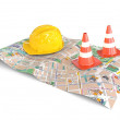 City Map with helmet and cones — Stock Photo
