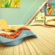 Bedroom with blue wall — Stock Photo