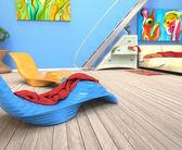 Schlafzimmer mit blauen wand — Stockfoto