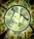 Dna with magnifying lens — Foto Stock