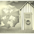 Beach cabin with umbrella map — Lizenzfreies Foto