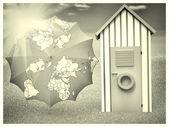 Plaj kabin şemsiye harita — Stok fotoğraf