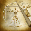 Stock Photo: Vitruvian man before and after
