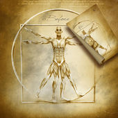 Vitruvian man before and after — Zdjęcie stockowe