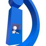 mały 3D - ikona informacji — Zdjęcie stockowe