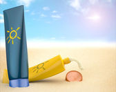 Sunscreen on the beach — Stok fotoğraf