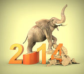 New year 2014 with elephant — 图库照片