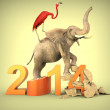 Stock Photo: Flamingo and elephant squishing 2014