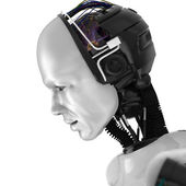 Humanoid Robotic Face — Stock Photo