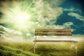 Bench in the sunshine — Foto Stock