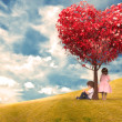 Children Under a Tree Heart — Stock Photo