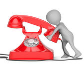 3d small people - call by telephone — Stock Photo