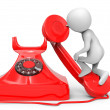 3d small people - call by telephone — Stock Photo #40742549