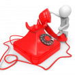 3d small people - call by telephone — Stock Photo #40742741