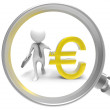 Stock Photo: 3D Businessmwith Magnifier and euro symbol