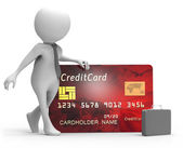 3D Man with Credit Card — Stock Photo