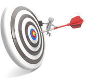 3d businessman above the arrow in the center of the target — Stockfoto
