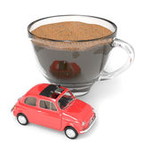 Cup of coffee with Italian vintage car — Stock Photo