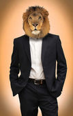 Man with lion head — Stock Photo