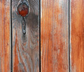 Close up rustic fence from wooden planks. — Foto de Stock