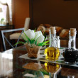 Bottles of olive oil and vinegar on a table in a cafe — Foto Stock