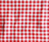 Red and white checkered picnic blanket. — Stock Photo
