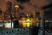 Boston Harbor at Night — Stock Photo