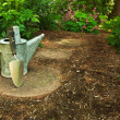 An old watering can and trowel sit on a garden path in the woods - Stock Photo