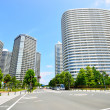 View tall buildings in Yokohama, Japan — Stock Photo