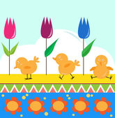Chicks and Tulips — Stock Vector