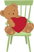 Teddy Holding Heart — Stock Vector