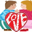 Valentine Kids - Stock Vector