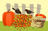 Colorful Corn and Birds — Stock Vector