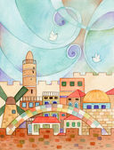 Jerusalem With Doves — Stock Photo
