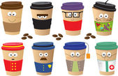Coffee Cups Characters — Stock Vector