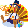 Turkey and Menorah — Stock Vector