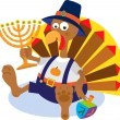 Turkey and Menorah — Stok Vektör