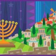 Hanukkah Night in Jerusalem — Stock Vector #32619083