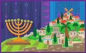 Hanukkah Night in Jerusalem — Stock Vector
