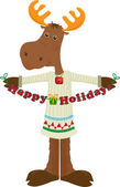 Happy Holiday Moose Icon — Stock Vector
