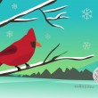 Winter cardinal — Stock Vector